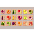 flat set fruits and vegetables on wooden vector image