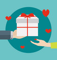 giving a gift to a woman vector image vector image