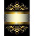 Gold ornament and gold stripes with ribbon vector image vector image