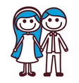 hand drawing silhouette caricature couple with vector image vector image