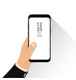 hand holding new version of smartphone fram vector image vector image