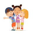 happy multi aged friends hug each other school vector image