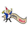 Happy New Year 2014 Turkey Toasting Wine Cartoon vector image vector image
