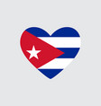 heart in colors of the cuba flag vector image vector image