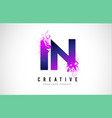 in i n purple letter logo design with liquid vector image vector image