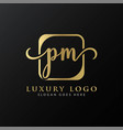 initial pm letter logo design modern typography vector image vector image