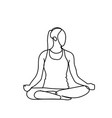 joga pose silhouette sketch woman on white vector image vector image