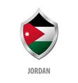 jordan flag on metal shiny shield vector image