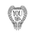 love you sketch black monochrome vector image vector image