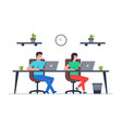 man and woman is working at his laptop vector image