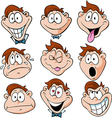 man emotions - of man with many facial expressions vector image