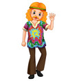man in colorful shirt waving hand vector image vector image