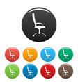 massage chair icons set color vector image vector image