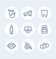 medical icons set in line style over white vector image