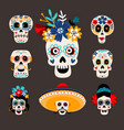 mexican dead sugar heads vector image