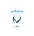 mexican manmariachi line icon concept mexican vector image vector image