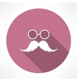 Mustache and Glasses Icon vector image vector image