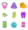 natural supplement icons set cartoon style vector image vector image