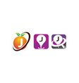 pin location fruit j template set vector image vector image