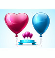 pink and blue balloons realistic heart vector image vector image