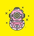 pink retro diving helmet icon vector image vector image