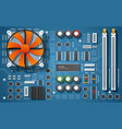 realistic motherboard vector image vector image