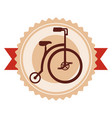 retro bicycle emblem with ribbon vector image vector image