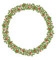 round christmas wreath with holly eps 10 vector image