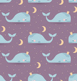 Seamless pattern with sleeping whales moon stars vector image vector image