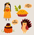 set cute colorful stickers for thanksgiving vector image
