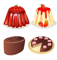 set dessert jelly with cherry and strawberries cak vector image vector image