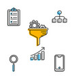 settings and business icons in composition vector image