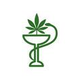 snake and bowl medical icon marijuana leaf vector image vector image