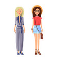 stylish young girls in modern summer outfits set vector image