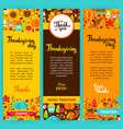 thanksgiving vertical flyers vector image vector image