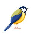 titmouse bird flat cartoon character design vector image vector image