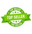 top seller ribbon top seller round green sign top vector image vector image