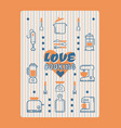 typography poster with line icons kitchen supplies vector image vector image