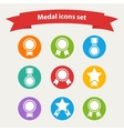 white medalaward icons set vector image