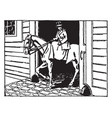 woman riding horse vintage vector image vector image