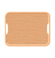 wooden tray on white background top view vector image vector image
