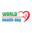 world health day logo text banner vector image vector image