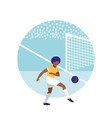 young man practicing football isolated icon vector image