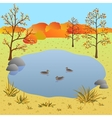 Flate autumn landscape lake with ducks vector image