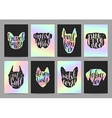 Stylish retro hipster set templates with dog vector image