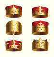 golden royalty crown isolated set vector image