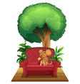 A chair under the tree with a mouse vector image vector image