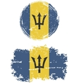 Barbados round and square grunge flags vector image vector image