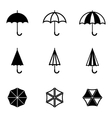 Black umbrella icons set