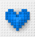 Blue heart made of construction kit vector image